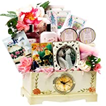 Art of Appreciation Gift Baskets Victorian Lace Tea Spa & Treats Clock Gift Chest