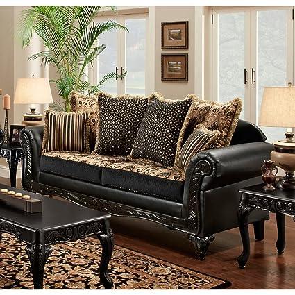 Chelsea Home Furniture Gwendolyn Sofa, Monte Carlo Ebony/Bi-Cast Ebony