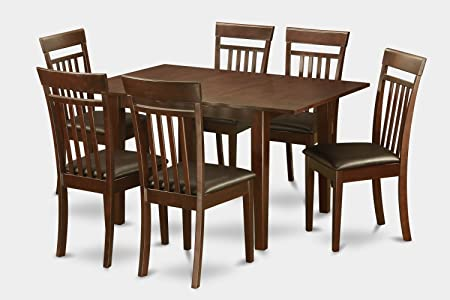 East West Furniture PSCA7-MAH-LC 7-Piece Kitchen Table Set