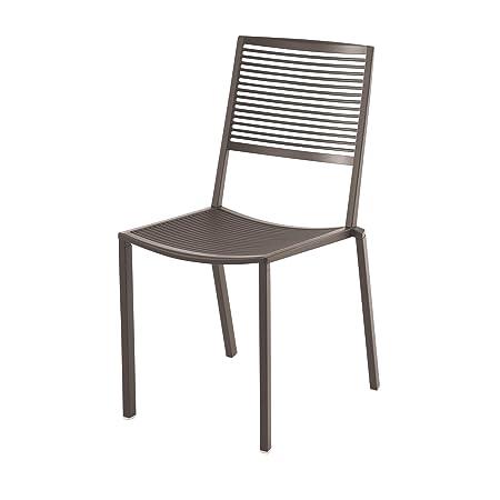 Easy Outdoor - Chaise de jardin taupe/peint par poudrage