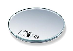 Beurer KS-28 - Balanza de cocina redonda, 5 kilógramos/1 gramo, pantalla LCD táctil, color plata   Más información y revisión del cliente