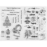 MaGuo Chirldren Happy Birthday Girl Cupcakes Clear Stamps for Paper Craft DIY Scrapbooking