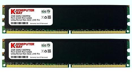 Komputerbay 4 Go (2x 2 Go) DDR2 800MHz PC2-6300 RAM 6400 (240 broches) DIMM 5-5-5-18 bureau mémoire avec Epandage chaleur
