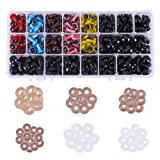 PH PandaHall 266 Pieces 6 Colors Plastic Safety Eyes Craft Eyes with 120 Pieces Black Safety Noses and 386 Pieces Washers for Doll, Puppet, Plush Animal Making (Color: Colorful Safety Eyes and Black Noses (386pcs))