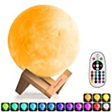 3D Moon Lamp (Diameter 5.9 inch), Morpilot 16 Colors 3D Print Moon Light Home Decorative Lights Night Light with Remote & Touch Control and USB Recharge for Baby Kids Lover Birthday Gifts (5.9) (Color: 5.9, Tamaño: 5.9 INCH)