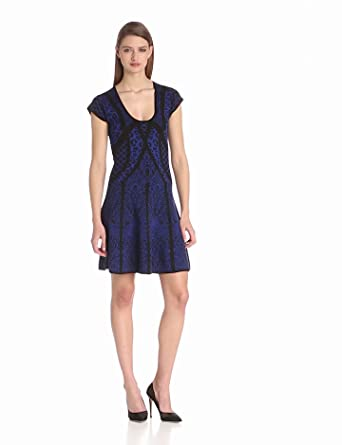 Nicole Miller Women's Leopard Fancy Knit Dress, Black/Cobalt, Medium