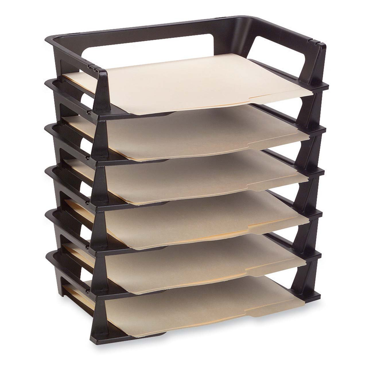 Plastic letter a4 office tray 6 pack stackable shelf - Desk drawer paper organizer ...