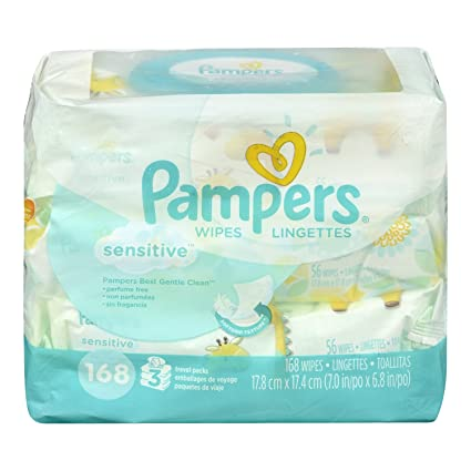Pampers Sensitive Wipes 3x Travel Pack, 168-Count: Amazon.ca: Health & Personal Care