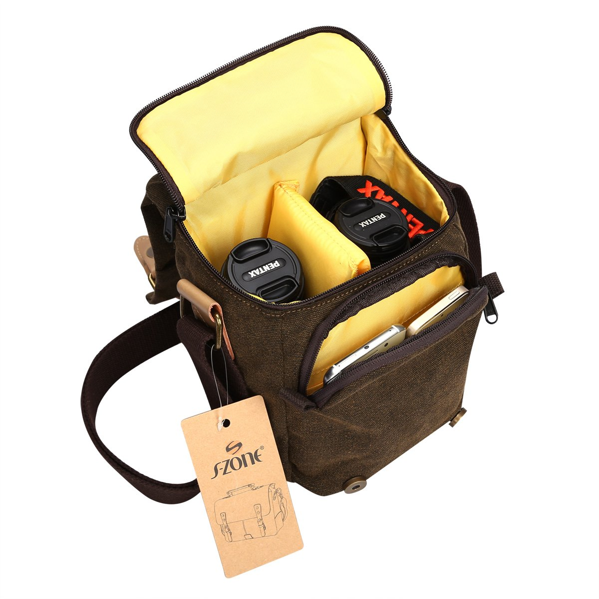 S-ZONE Vintage Waterproof Canvas Leather Trim DSLR SLR Shockproof Camera Shoulder Messenger Bag 4