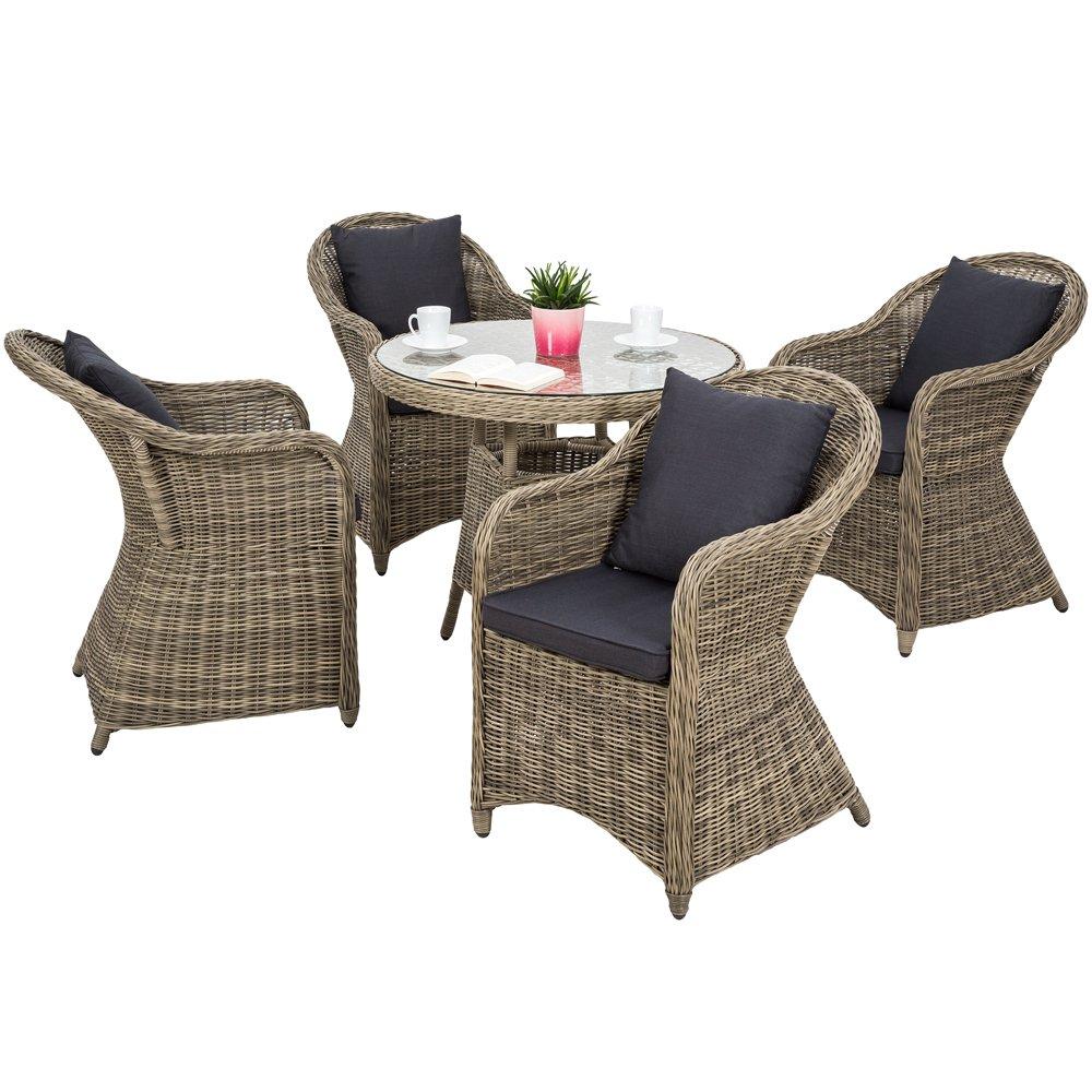 TecTake Luxus Alu Polyrattan Garten Sitzgruppe 4 Gartensessel und 1 Tisch – inkl. 8 Kissen – wetterfest jetzt kaufen