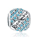 Forever Queen December Birthstone Charms for Pandora Charms Bracelet- 925 Sterling Silver Bead Openwork Charms, Happy Birthday Charms for Bracelet and Necklace FQ0004-12