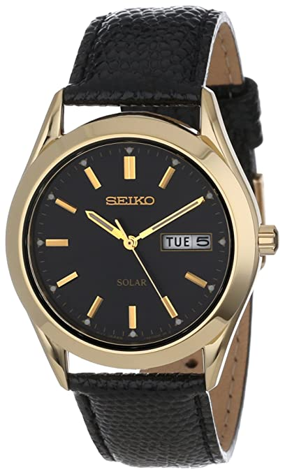 Seiko Men's SNE054 Solar Strap Black Dial Watch-奢品汇 | 海淘手表 | 腕表资讯