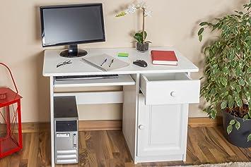"Bureau ""Junco"" bois du pin massif blanc 190 - Dimensions: 75 x 110 x 55 cm (H x L x P)"