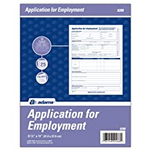 Adams Applications For Employment,  8.5 x 11 Inch, 25-Pack, White (9288ABF)