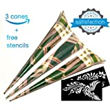 Henna Cones Ink Organic Brown Body Art Tattoo Paste Temporary Tattoo Waterproof India Painting Ink Stencil Set Kit