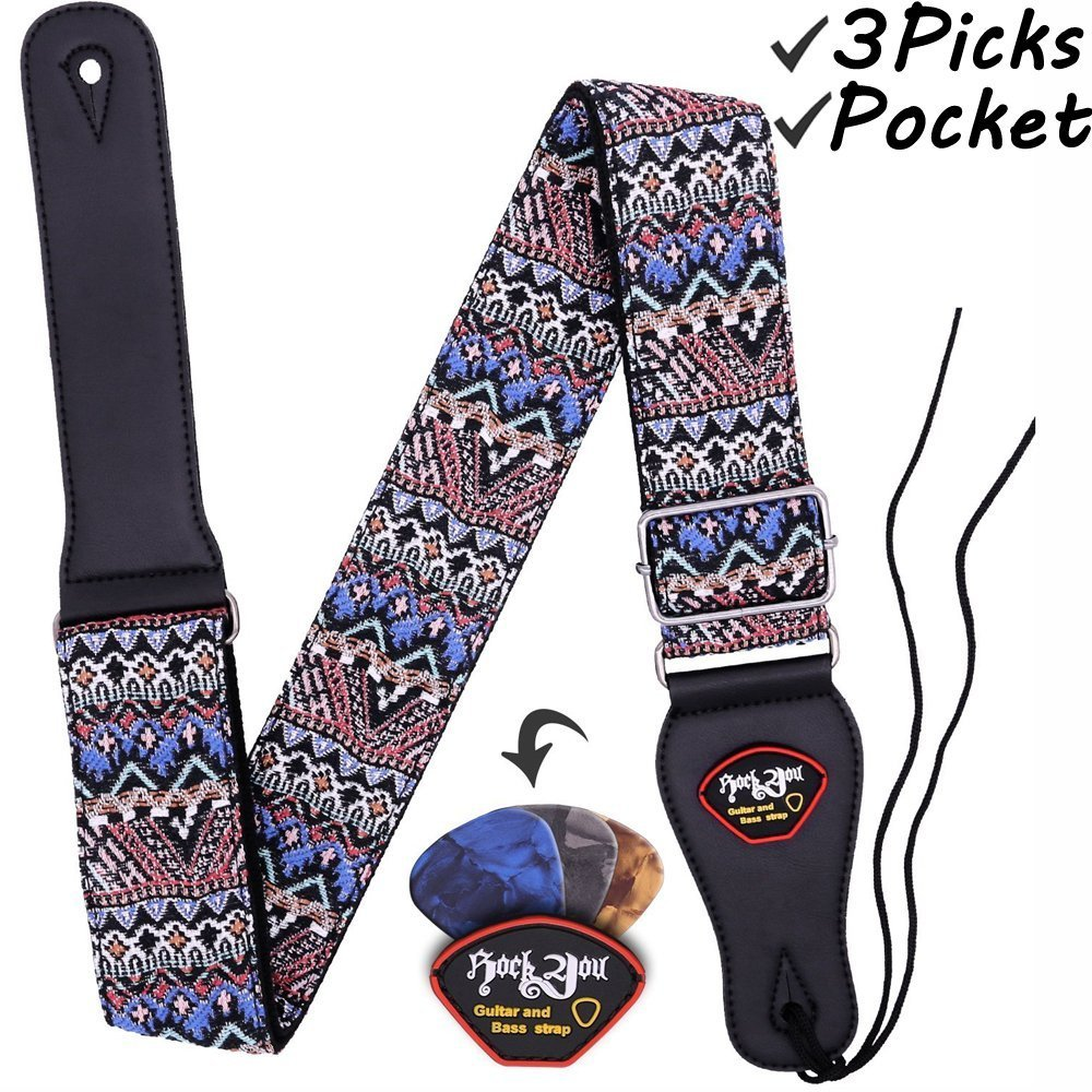 anwenk guitar strap acoustic guitar strap bass guitar strap woven hootenanny style cool vintage. Black Bedroom Furniture Sets. Home Design Ideas