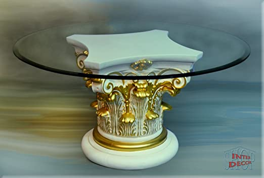 Griechisch Designer Couchtisch Wohnzimmertisch Tisch Glastisch Säule Antik