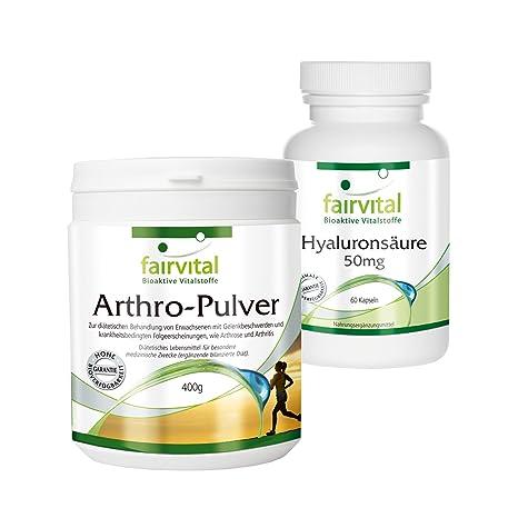 Arthro-Pulver plus Hyaluron Set fur gesunde Gelenke mit Collagen, Glucosamin, Chondroitin und Hyaluronsäure