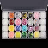 28 Boxes Nail Glitter Chunky Sequins Iridescent Flakes Ultra-thin Tips Colorful Mixed Paillette with Craft Containers, Face Body Hair Nail Art by Magicdo (Tamaño: 28 jars)