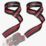Lifting Wrist Straps by Rip Toned (Pair) - Bonus Ebook - Cotton Padded - For Weightlifting, Bodybuilding, Crossfit, Strength Training, Powerlifting, MMA (Black/Red)