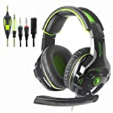 New Xbox One PS4 Gaming Headset with Microphones, Sades SA810 3.5mm In-line Volume Control Wired Noise Isolation Bass Surround Over-Ear Headphones for PC Mac iPad iPod Laptop Computer(Black/Green) (Color: SA810)