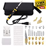 Full Set Wood Burning Kit, Wood Burning Kit with Various Wood Embossing/Carving/Soldering Tips +Stencil + Stand + Carrying Case (Color: wood burning tool, Tamaño: wood burning t1)