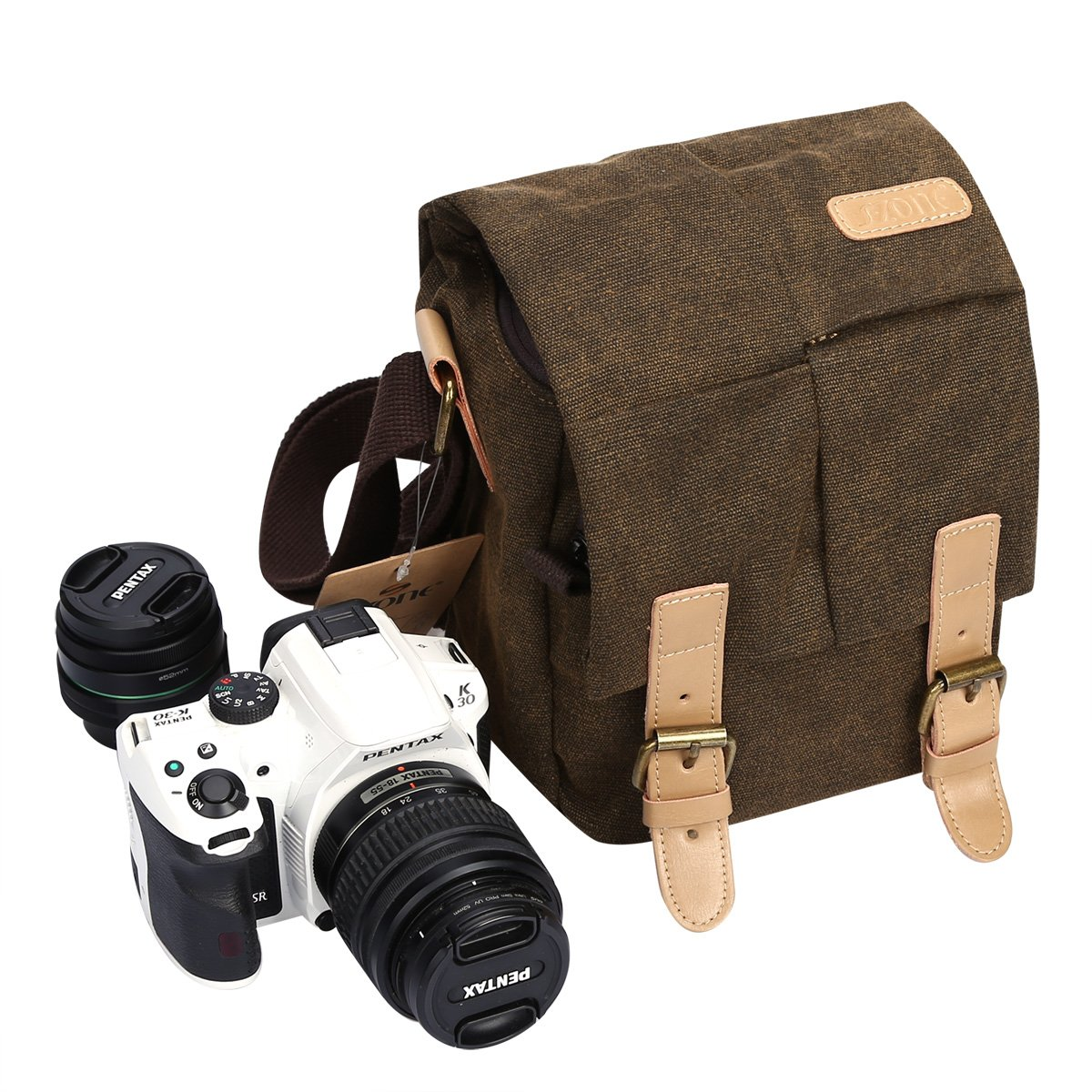 S-ZONE Vintage Waterproof Canvas Leather Trim DSLR SLR Shockproof Camera Shoulder Messenger Bag 1