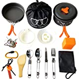 Gold Armour 17Pcs Camping Cookware Mess Kit Backpacking Gear & Hiking Outdoors Bug Out Bag Cooking Equipment Cookset   Lightweight, Compact, Durable Pot Pan Bowls (Orange)