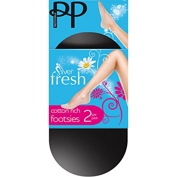 Pretty Polly Silver Fresh Cotton Rich Footsies Socks