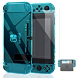 Dockable Case for Nintendo Switch [Updated],FYOUNG Protective Accessories Cover Case for Nintendo Switch and Nintendo Switch Joy-Con Controller with a Tempered Glass Screen Protector - Clear Blue (Color: Blue)