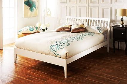 effleurant ananké Cadre de lit simple Blanc