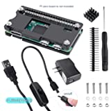 UNIROI 6 in 1 Basic Starter kit for Raspberry Pi Zero/Zero W with Black Acrylic Case, 20 pin GPIO Header, 5V/2.5A Power Supply, Micro USB Cable, ON/Off Switch UR001