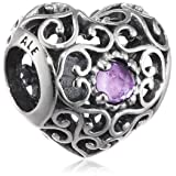 PANDORA 791784sam February Signature Heart Synthetic Charm (Color: Silver)