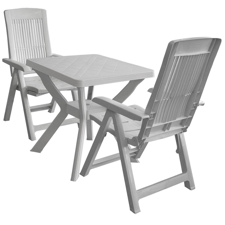 3tlg. Kunststoff Garnitur Gartentisch 70x70cm Weiss + Klappstuhl Gartenstuhl 5 Positionen Weiss Balkonmöbel Sitzgruppe Sitzgarnitur bestellen