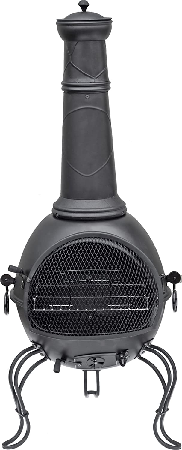 La Hacienda Murcia Steel Chimenea, 53.5 by 18.9-Inch, Black