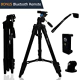 Lightweight Travel Tripod 48 Inch | Bluetooth Remote, Phone Mount, GoPro Mount, Carrying Bag | Premium Aluminum | Digital Camera, Android, DSLR, iPhon