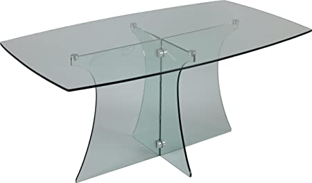 Living room rectangular L160 curved glass Table
