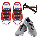 HOMAR No Tie Kids Shoelaces Turn Your Shoes into Slip-on - Best in Sports & Fitness - Waterproof Silicon Running Shoelaces Multicolor Shoe Laces Perfect for Children - Brown