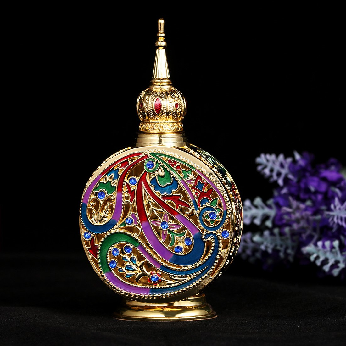 H&D Vintage 18ml Empty Refillable Egyptian Style Enameled Metal and Glass Perfume Bottle 3