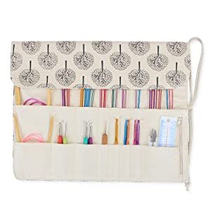 Teamoy Tunisian Crochet Hook Organizer Bag(up to 14 Inches), Cotton Canvas Roll Wrap for Afghan Crochet Hooks, Knitting Needles and Accessories, Tree (Color: Tree, Tamaño: Medium)