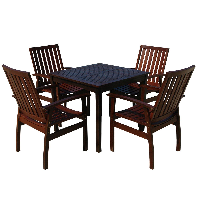 indoba® IND-70080-PRSE5Q – Serie Provence – Gartenmöbel Set 5-teilig aus Holz FSC zertifiziert – 4 Gartenstühle + quadratischer Gartentisch günstig online kaufen