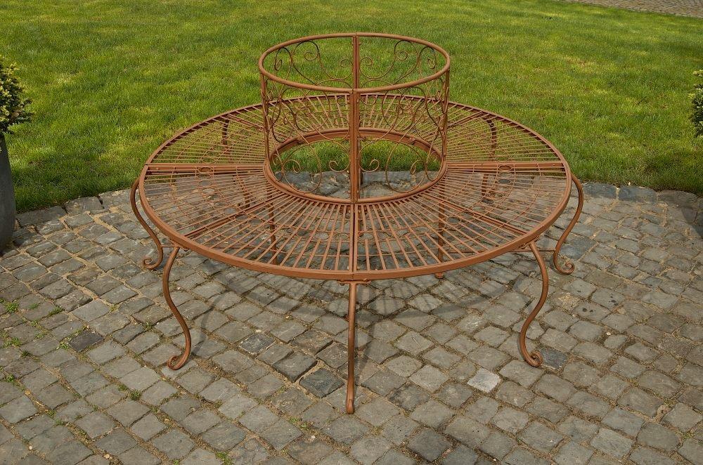 CLP 360° Rundbank PEMA im Landhausstil, aus lackiertem Eisen (aus bis zu 6 Farben wählen) antik-braun günstig online kaufen