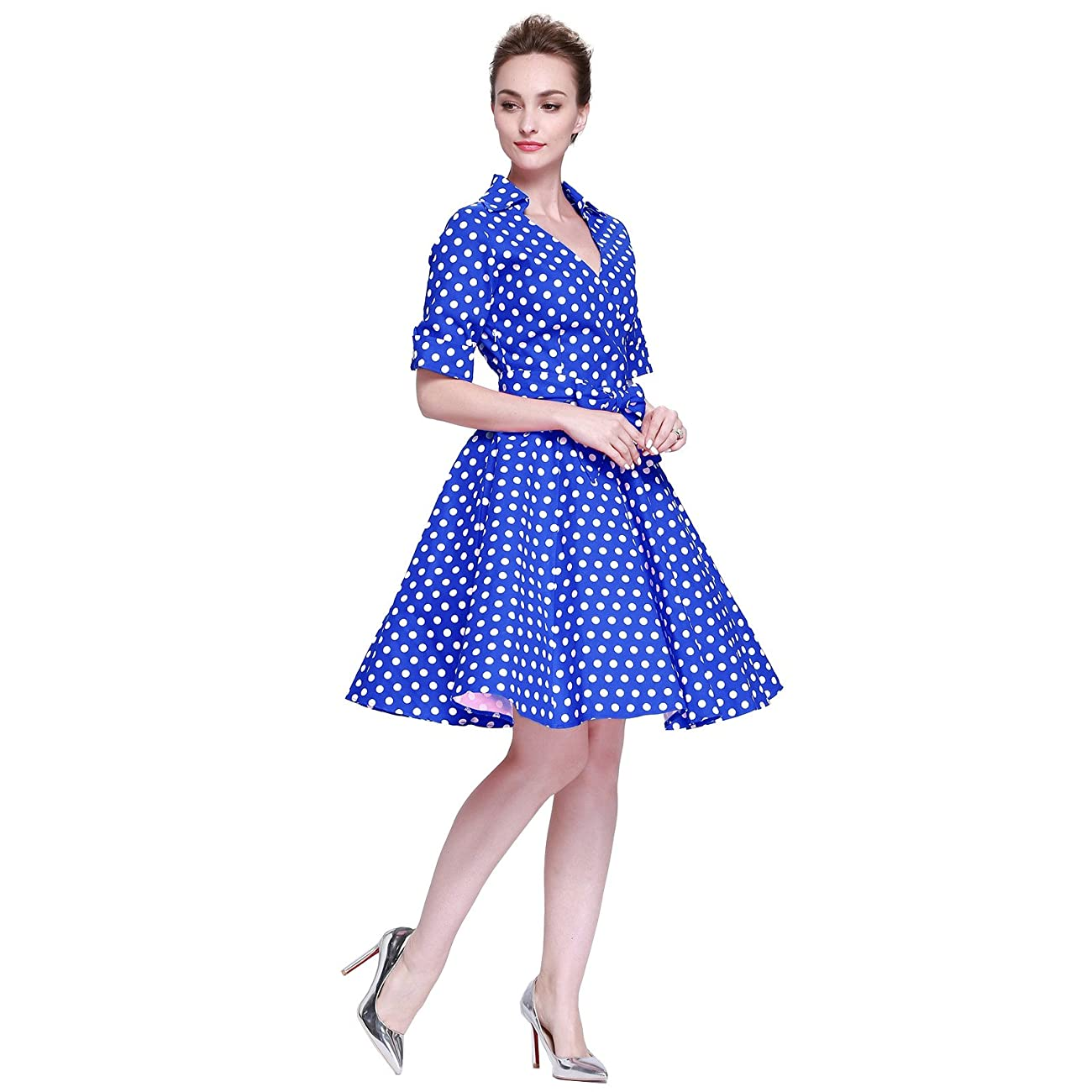 Heroecol Womens Vintage 1950s Dresses Cross V Neck Short Sleeve 50s 60s Style Retro Swing Cotton Dress 2
