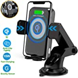 Wireless Car Charger, Qidoe 15W/10W Auto-Clamp Car Mount 2 in 1 Windshield Dashboard & Air Vent Car Phone Holder Qi Fast Charging for Samsung S10/S10+/Note 10/S9/S8, iPhone 11/11 Pro+/XR/Xs Max/X/8+