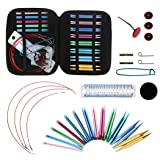 Aluminum Circular Knitting Needles Set with Ergonomic Handles, 13 Sizes/Set Mixed Interchangeable Circular Knitting Needle Weave Yarn Sets with Storage Case for Any Crochet Patterns & Yarns Projects