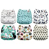 Mama Koala One Size Baby Washable Reusable Pocket Cloth Diapers, 6 Pack with 6 One Size Microfiber Inserts (Bone Thugs N Harmeowny) (Color: Bone Thugs N Harmeowny, Tamaño: One Size)