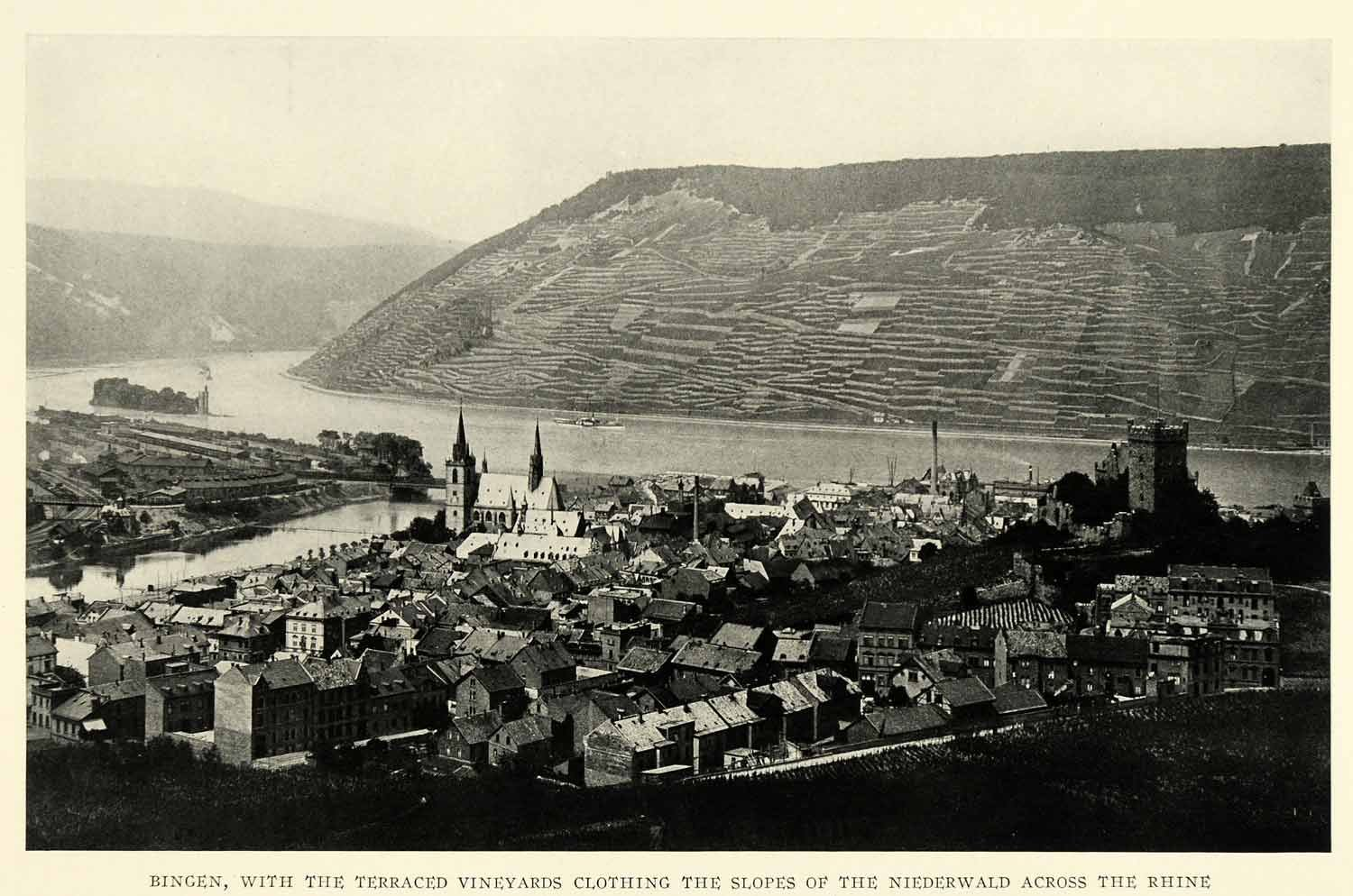1925 Print Bingen Germany Vineyards Hillside Cityscape Church Rhine Nahe Tower