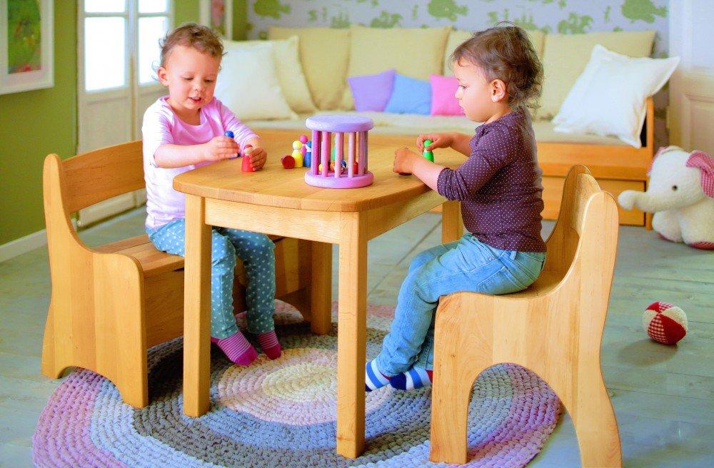 BioKinder 22820 Levin Spar-Set Kindersitzgruppe komplett, Tisch, Bank, Stuhl aus Massivholz Erle günstig online kaufen