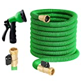 100 ft Garden Hose - Upgraded Expandable Water Hose Kit with 3/4 Solid Brass Connectors Fittings, Valve, 8 Pattern Spray Nozzle, Durable Latex Core - New Expanding Flexible Gardening Hose (Color: Green, Tamaño: 100FT)