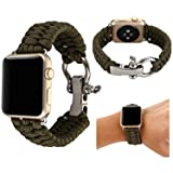 Baokai Apple Watch Band 42mm, Nylon Rope Replacement Paracord Watch Band with Outdoor Survival Stainless Steel Shackle for Apple Watch Series 3 Series 2 Series 1 Sport and Edition,Army Green (Color: Army Green, Tamaño: 42mm)